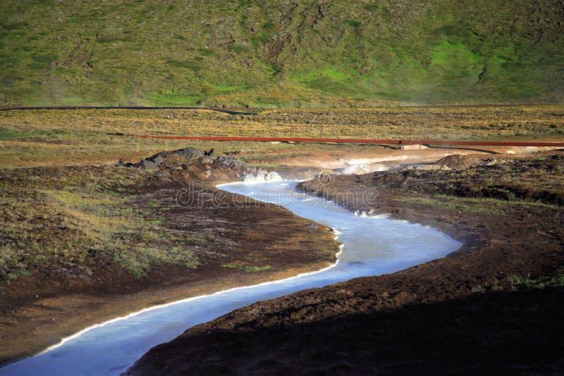 Córrego azul leitoso do enxôfre fotos de stock royalty free