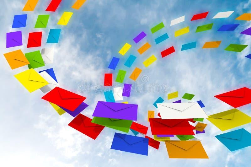 Córrego colorido dos envelopes de encontro à SK azul ilustração stock