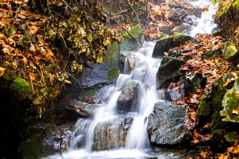 Córrego com árvores e rochas na montanha no outono fotografia de stock