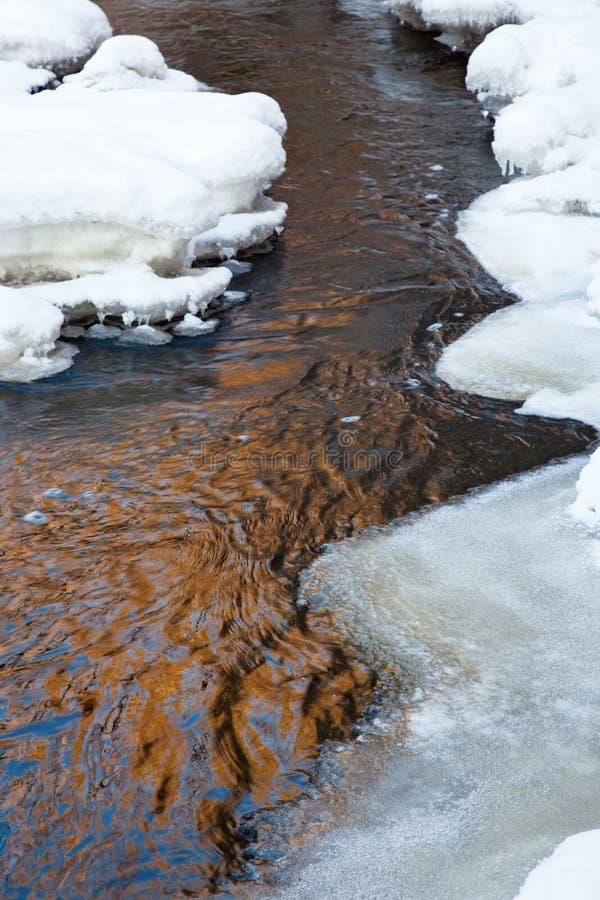 Córrego com gelo e neve foto de stock royalty free