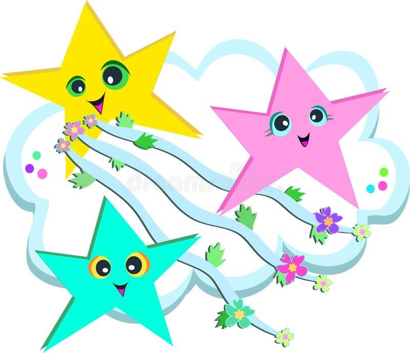 Córrego da estrela das fitas e das flores ilustração do vetor