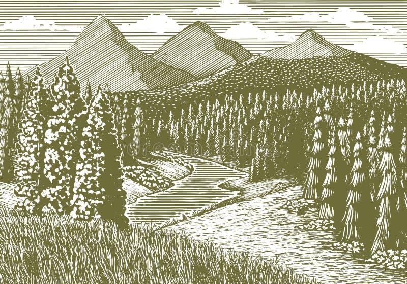 Córrego da montanha do bloco xilográfico ilustração stock