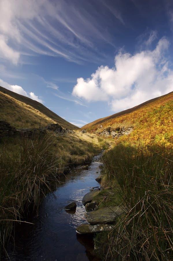 Córrego da montanha em um dia ensolarado foto de stock