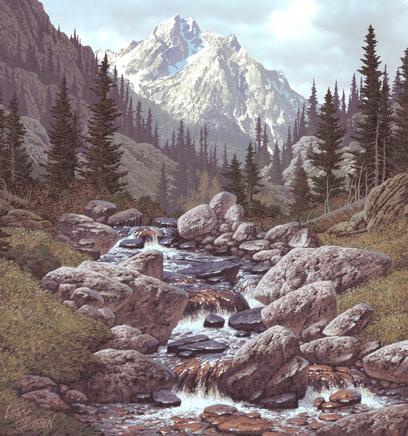 Córrego da montanha nas Montanhas Rochosas foto de stock royalty free