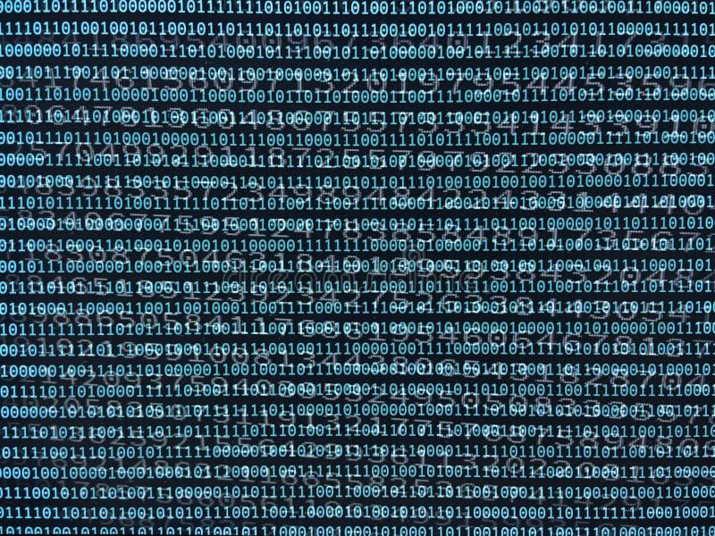 Córrego de dados e números binários imagens de stock royalty free