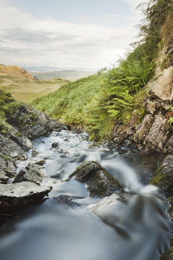Córrego de fluxo abaixo do vale foto de stock royalty free
