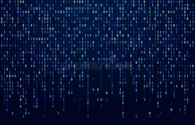 Córrego do código binário Códigos de dados de Digitas, codificação do hacker e fluxo cripto dos números da matriz Sumário da tela ilustração stock