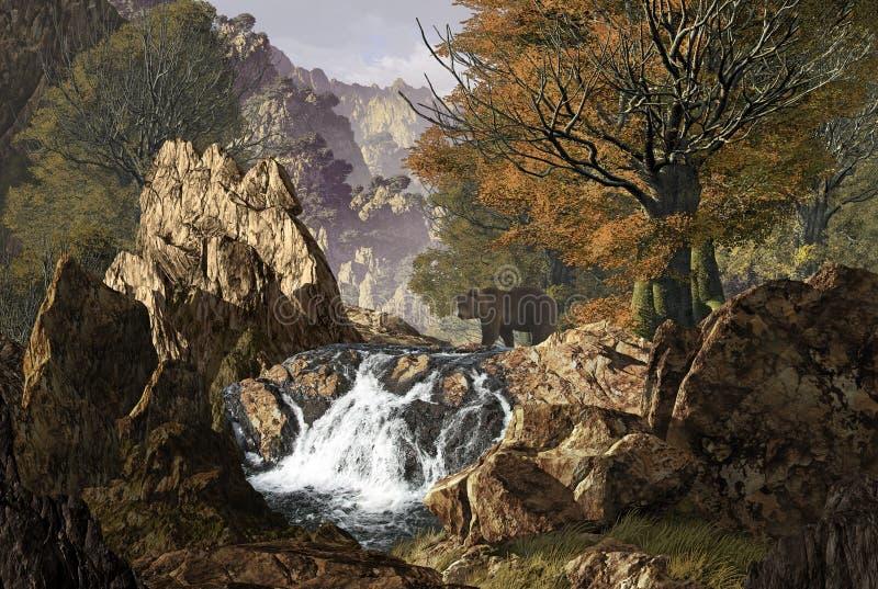 Córrego do cruzamento do urso ilustração stock