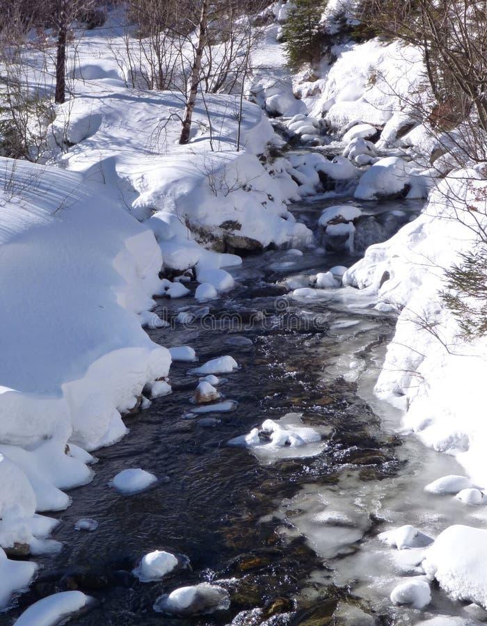 Córrego pequeno da montanha na neve de derretimento fotografia de stock