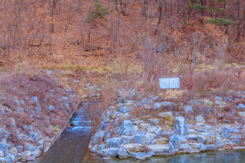 Córrego pequeno usado para ventilar um rio imagem de stock