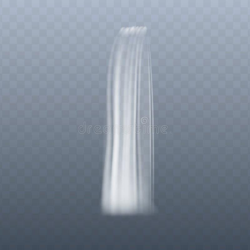 Córrego vertical fino da cachoeira no movimento, efeito realístico da água que flui para baixo ilustração royalty free