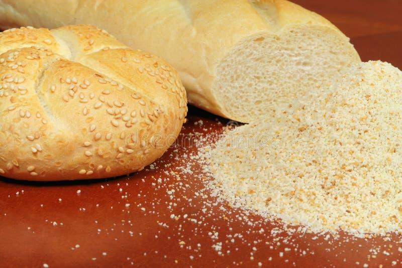 Côdea de pão ralado e baguette fotos de stock royalty free