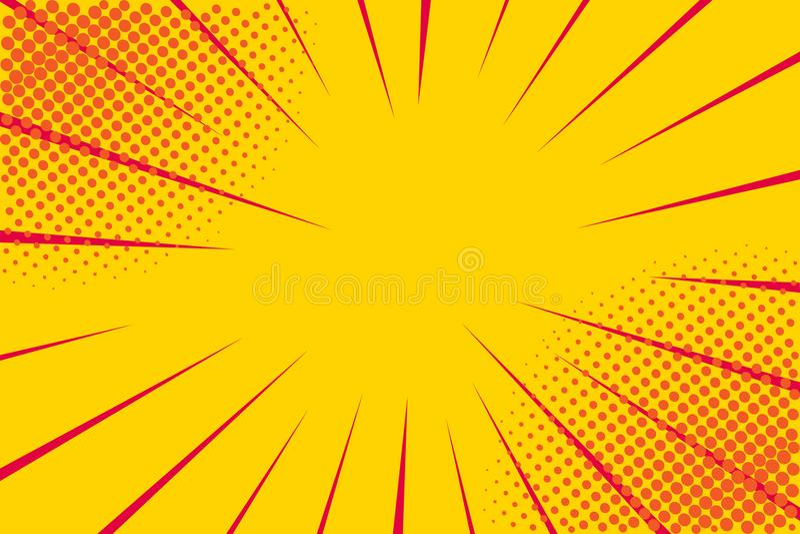 Cômico retro do pop art Fundo amarelo Pontos da reticulação da explosão do relâmpago Desenhos animados contra Vetor ilustração do vetor