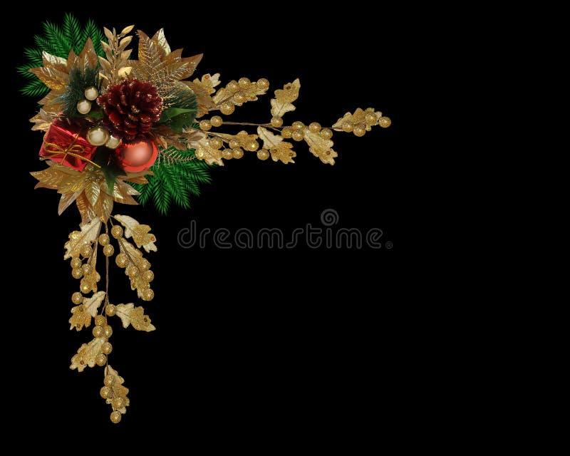 Cône élégant de pin de cadre de Noël illustration de vecteur