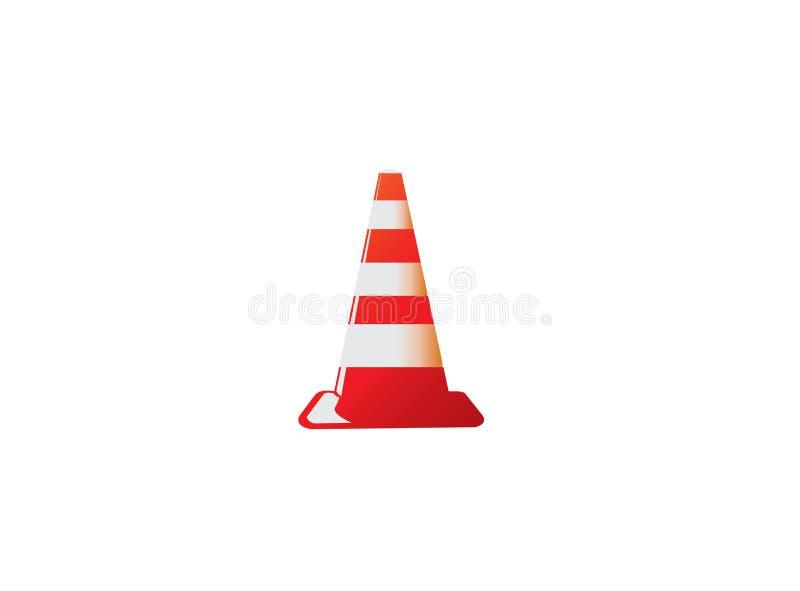 Cône du trafic dans l'avertissement en construction de signal dans une zone sûre pour la conception de logo illustration libre de droits