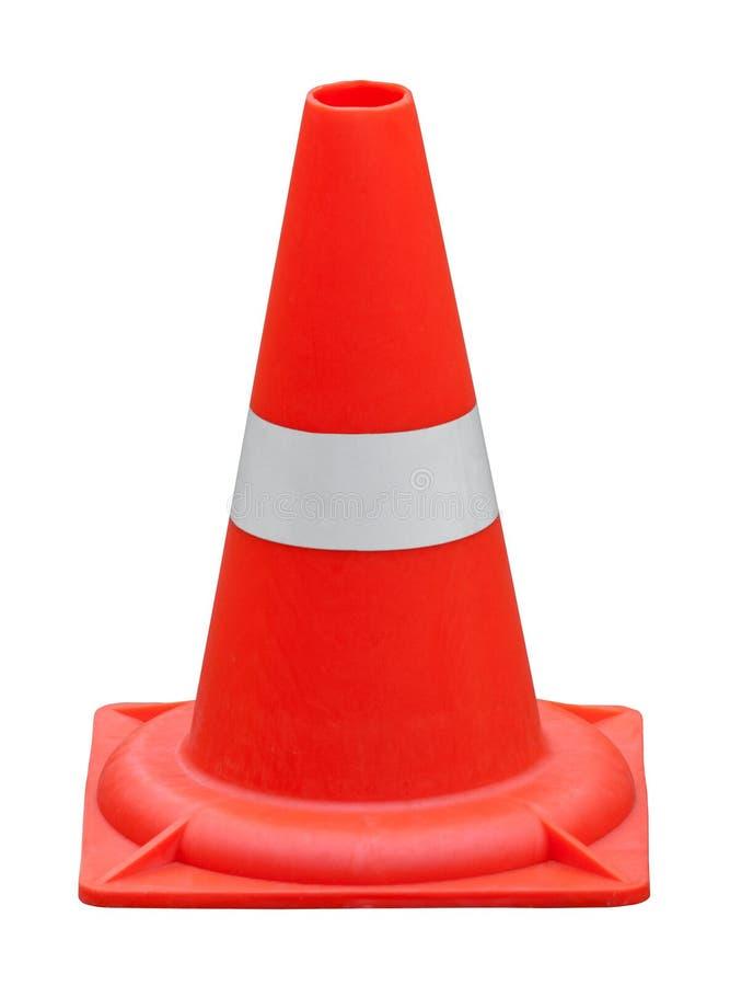 Cône orange du trafic sur un fond blanc d'isolement photos stock