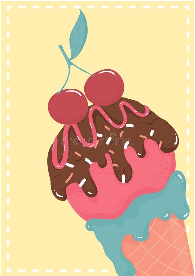 Cône starwberry mignon de gaufre de crème glacée de chocolat sucré avec la carte d'été de cerise illustration de vecteur