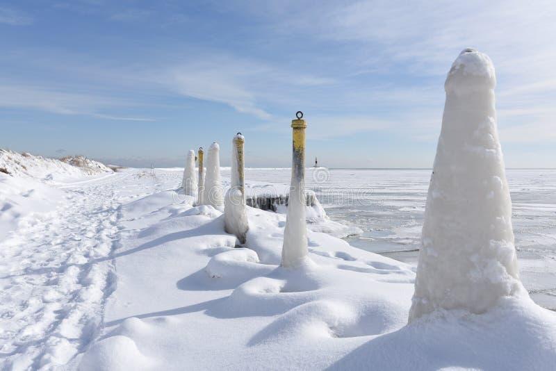 Cônes de glace au rivage de lac photos libres de droits