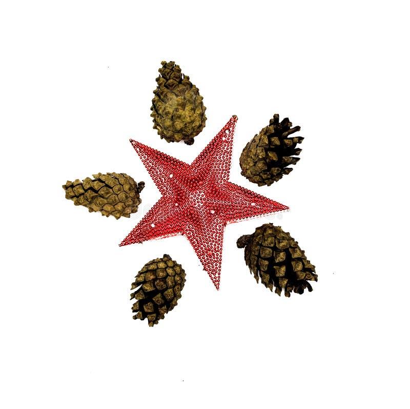 Cônes de l'arbre de sapin et de l'étoile rouge décorative de jouet d'isolement sur le fond blanc images stock