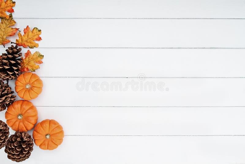 Cônes de Mini Pumpkins et de pin au-dessus de fond en bois photographie stock