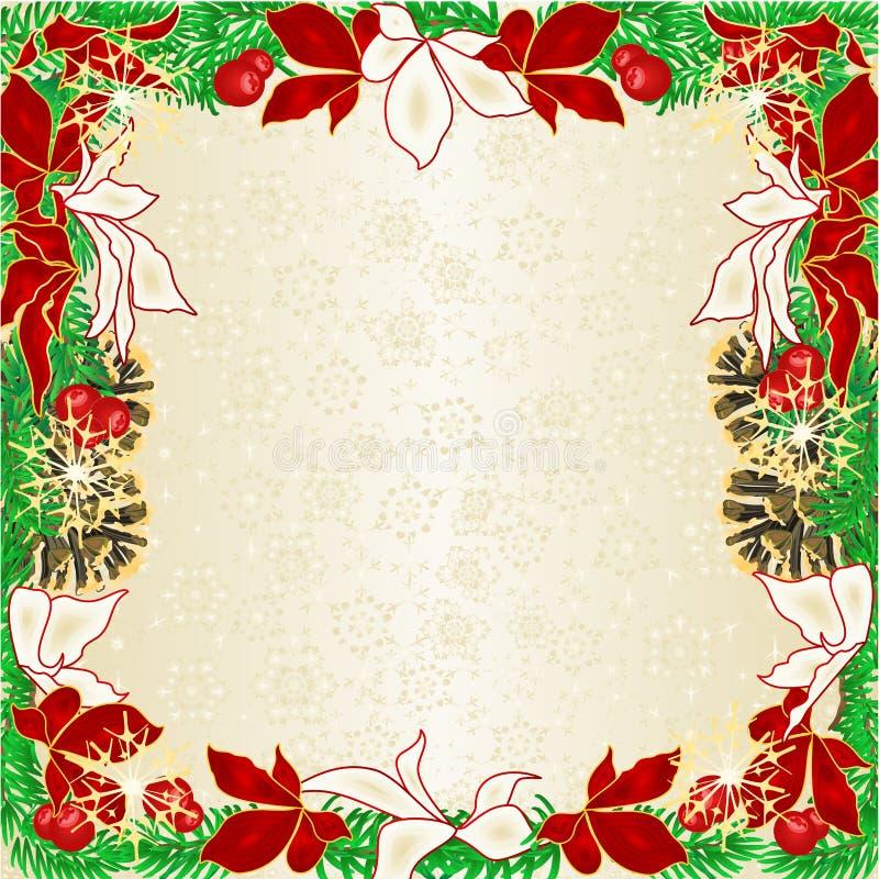 Cônes impeccables de pin de branches d'arbre de poinsettia rouge et blanche de décoration de cadre de Noël et de nouvelle année e illustration stock