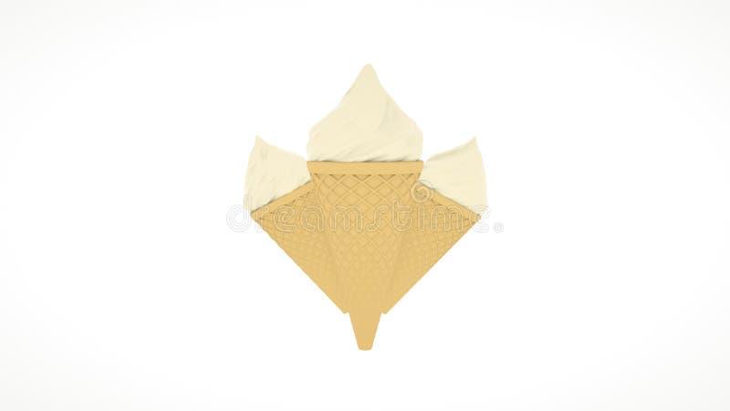 Cônes triples de glace à la vanille sur le fond blanc illustration 3D images libres de droits