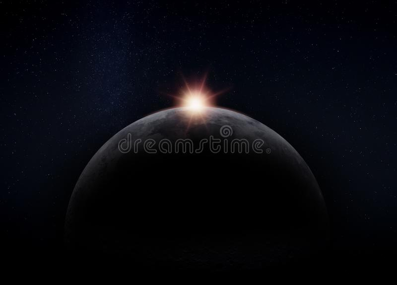 Côté caché foncé de la lune, avec le Sun photos libres de droits