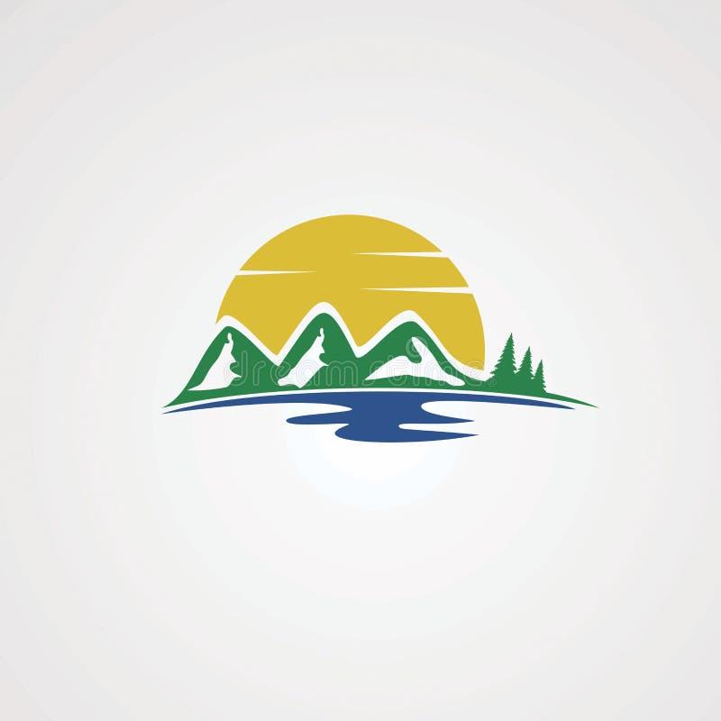 Côté de lac avec le vecteur, l'icône, l'élément, et le calibre de logo de montagne de vert d'arbre pour des affaires illustration libre de droits