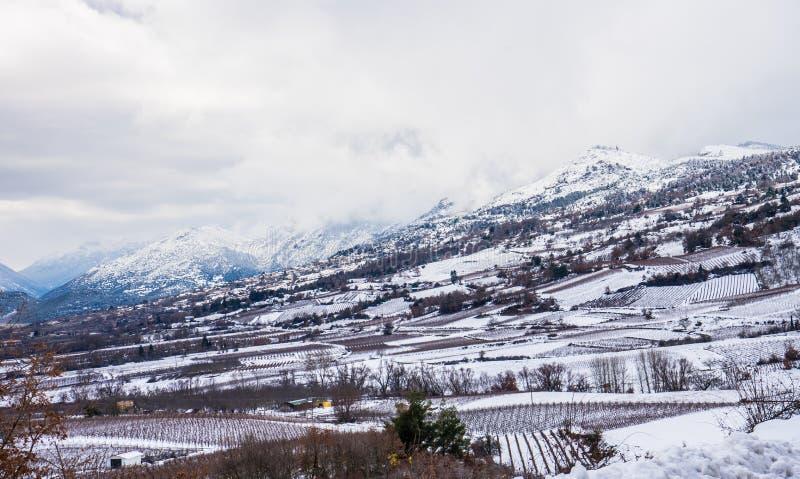 Côté de montagne couvert dans la neige photographie stock libre de droits