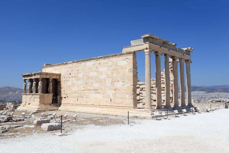 Côté de temple antique d'Erechtheum images libres de droits