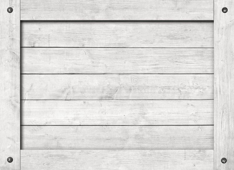 Côté de vieilles caisse en bois, boîte, planches ou cadre grises avec des vis pour le texte ou le message photographie stock