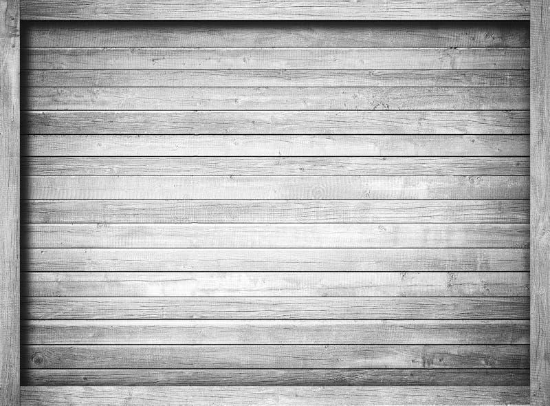 Côté de vieilles caisse en bois, boîte, planches ou cadre grises pour le texte ou le message photographie stock