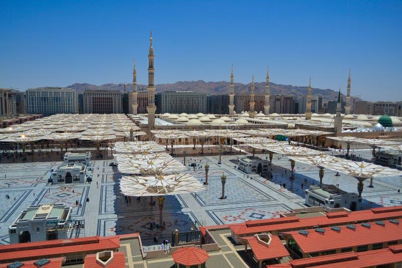 Côté Ouest de mosquée de Nabawi photographie stock libre de droits