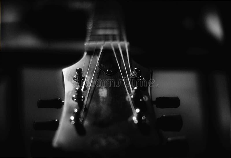 Côté supérieur noir et blanc de guitare photo stock