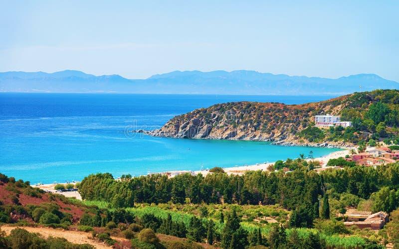 Côte à la mer Villasimius Cagliari Sardaigne du sud de Mediterrenian photographie stock libre de droits