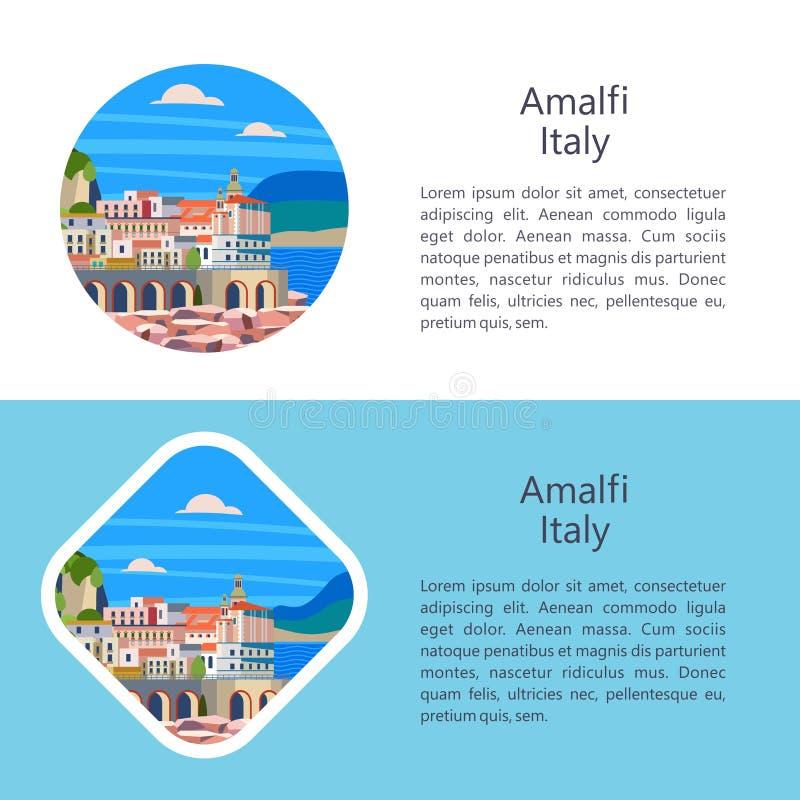 Côte d'Amalfi, Italie Station touristique de bord de la mer Illustration de vecteur illustration libre de droits
