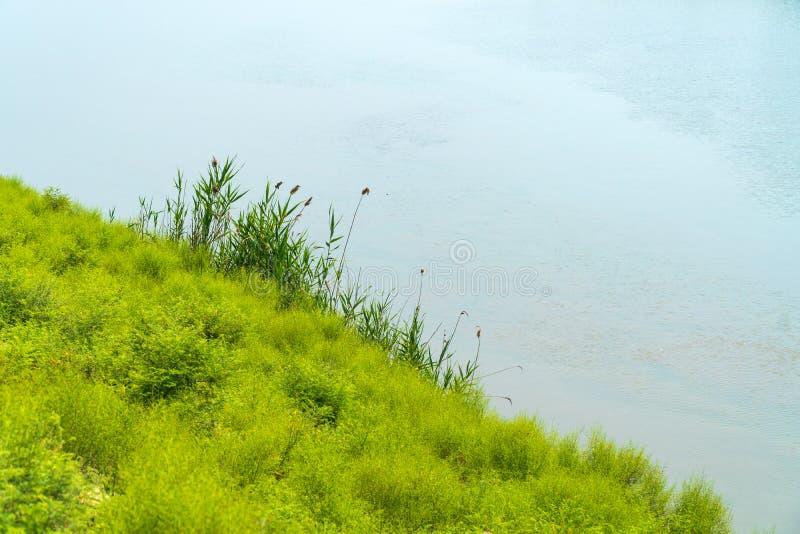 Côte d'une rivière plate large photographie stock