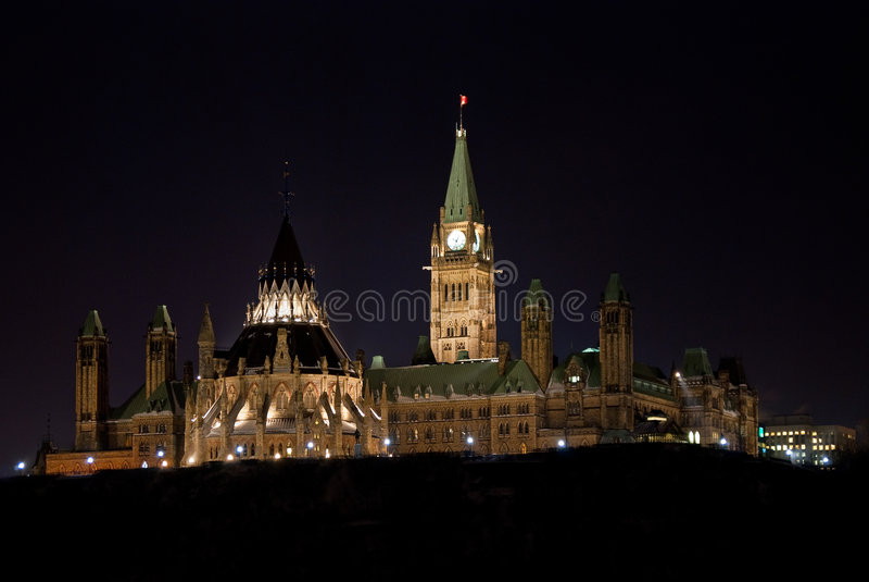 Côte du Parlement la nuit photo libre de droits