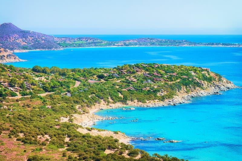 Côte en mer Villasimius Cagliari Sardaigne du sud de Mediterrenian images stock