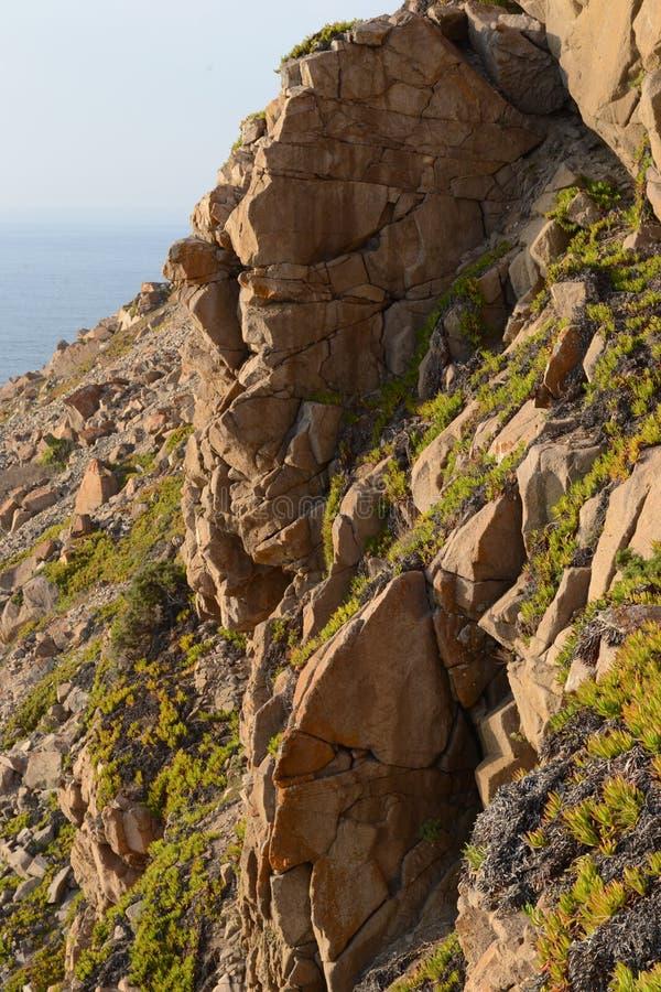 Côte et falaises de l'Océan Atlantique roca du DA Portugal de cabo images stock