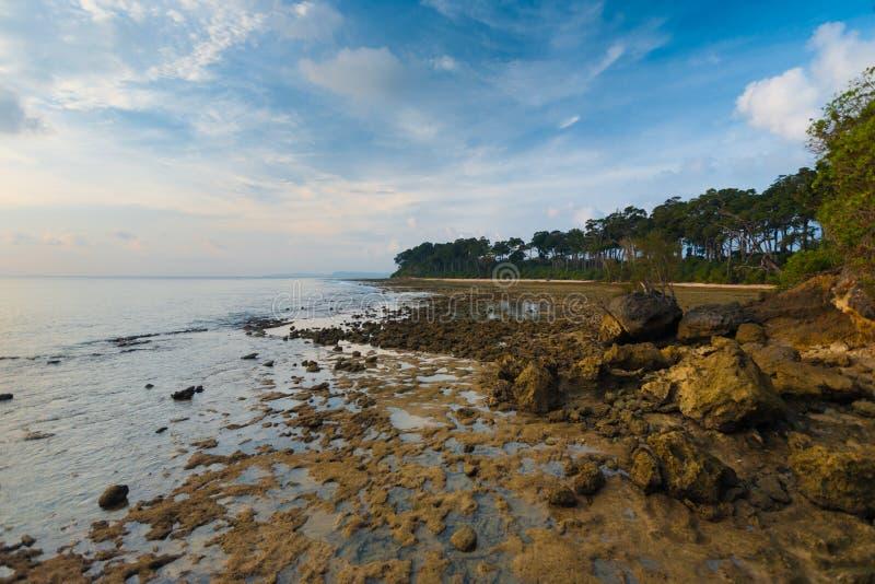Côte rocheuse d'Andaman d'horizontal d'île de Neil images stock