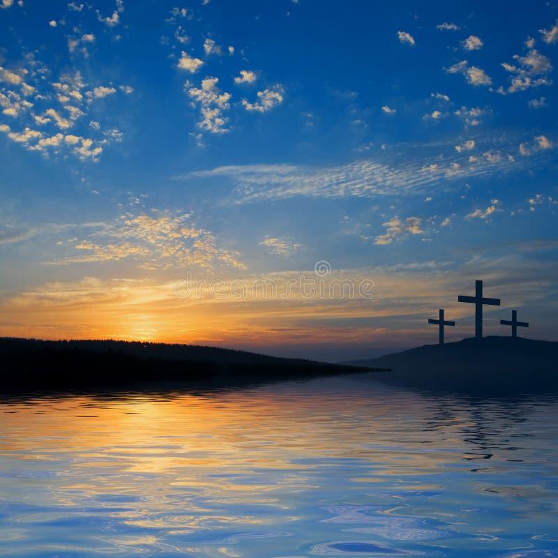 côte trois de crucifixions photo stock