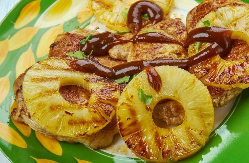 Côtelettes de porc hawaïennes grillées photo libre de droits