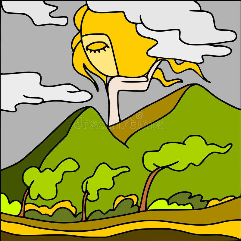 Côtes dans le vent illustration de vecteur