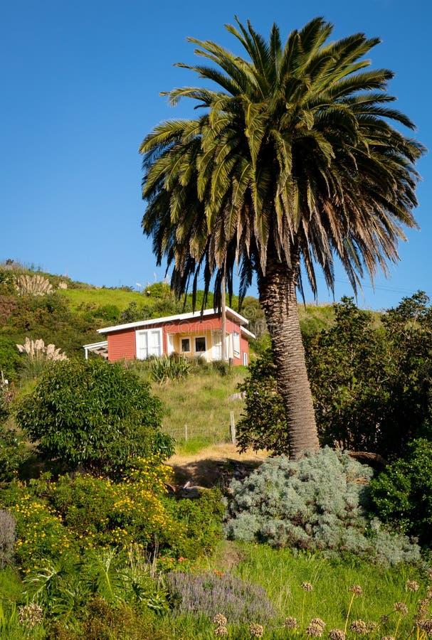 Côtier, rural, maison de vacances, péninsule de Mahia, Côte Est, île du nord, Nouvelle-Zélande photos stock
