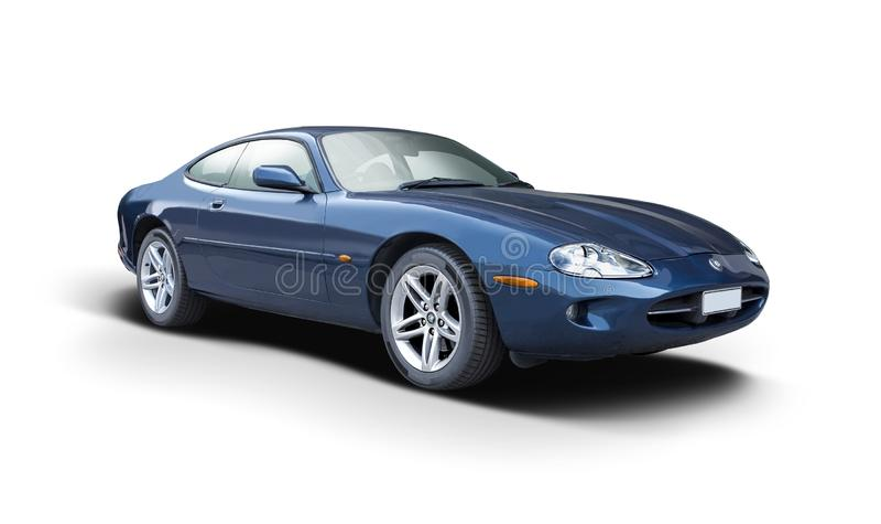 Cúpe XK8 Jaguar isolado em branco fotografia de stock royalty free