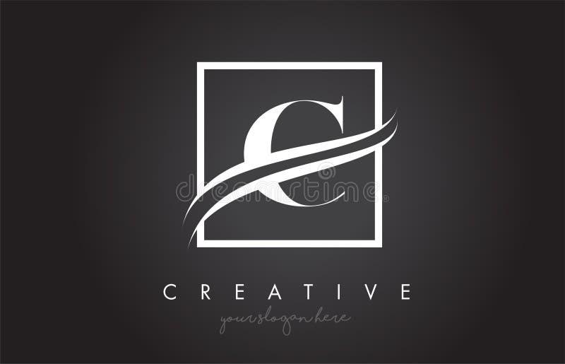 C信件与方形的Swoosh边界和创造性的象设计的商标设计 皇族释放例证