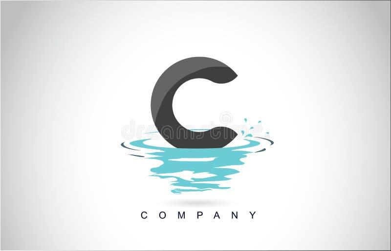 C信件与水飞溅的商标设计起波纹下落反射 向量例证