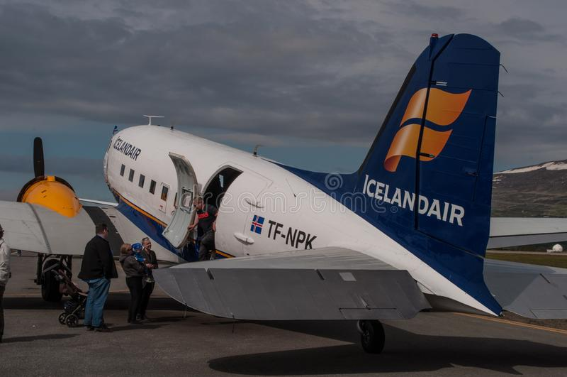 C47 Ντάγκλας Icelandair αεροπλάνο στοκ φωτογραφίες με δικαίωμα ελεύθερης χρήσης