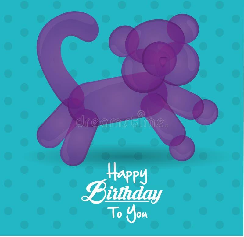 C днем рожденья карточка с предпосылкой бирюзы точки формы кота воздушного шара иллюстрация вектора
